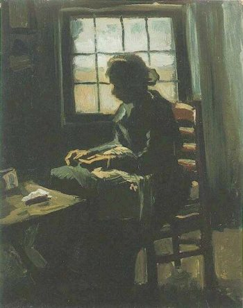 Woman Sewing   Vincent Van Gogh   oil painting