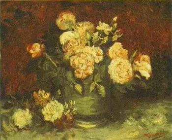 Bowl with Peonies and Roses | Vincent Van Gogh | oil painting