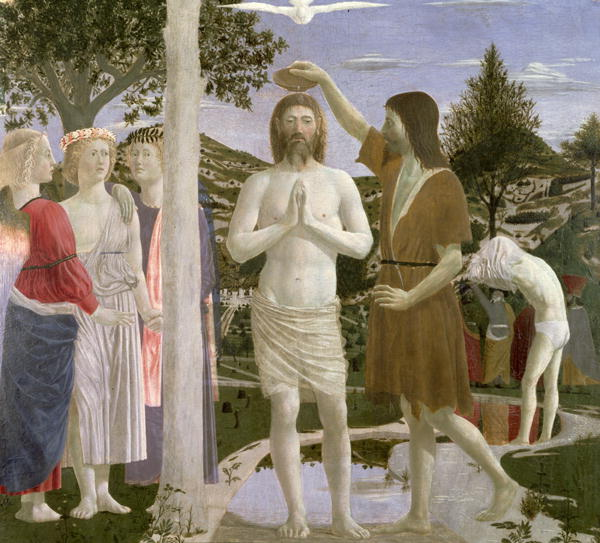 Baptism of Christ detail of Christ John the Baptist and angels 1450   Piero della Francesca   oil painting