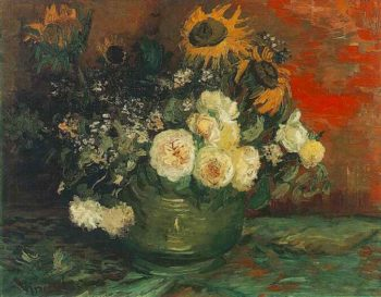Bowl with Sunflowers Roses and Other Flowers | Vincent Van Gogh | oil painting
