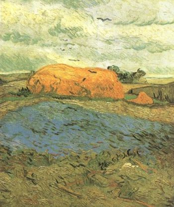 Haystacks under a Rainy Sky | Vincent Van Gogh | oil painting