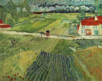 Landscape with Carriage and Train in the Background | Vincent Van Gogh | oil painting