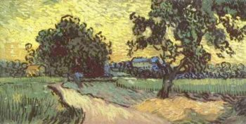 Landscape with the Chateau of Auvers at Sunset | Vincent Van Gogh | oil painting