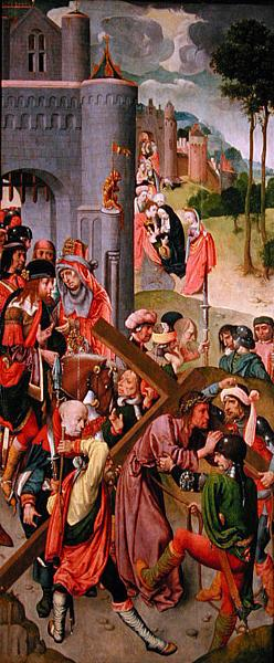Christ carrying the cross side panel from a triptych 1490s | Master of the Virgo Inter Virgines | oil painting
