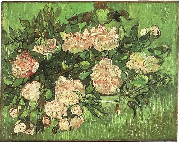 still life pink roses painting vincent van gogh oil paintings