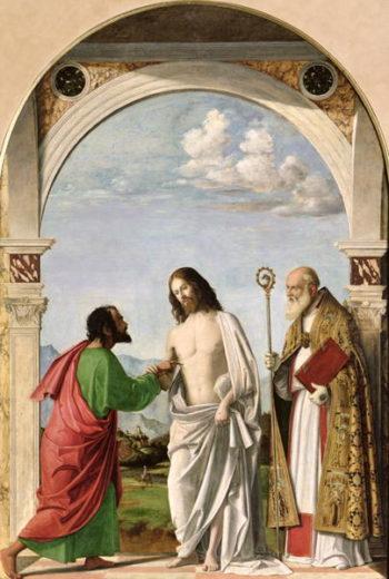 Doubting Thomas with St Magnus 1504 05   Giovanni Battista Cima da Conegliano   oil painting
