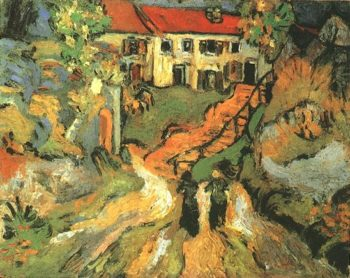 Village Street and Steps in Auvers with Two Figures | Vincent Van Gogh | oil painting
