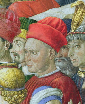 Face in the procession detail from the Journey of the Magi cycle in the chapel 1460 | Benozzo di Lese di Sandro Gozzoli | oil painting
