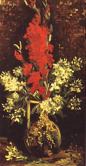 Vase with Gladioli and Carnations version 2 | Vincent Van Gogh | oil painting