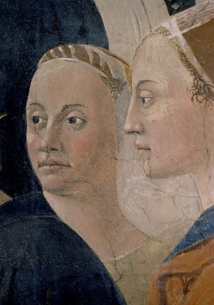 he Legend of the True Cross the Verification of the True Cross detail of attendants completed 1464 | Piero della Francesca | oil painting