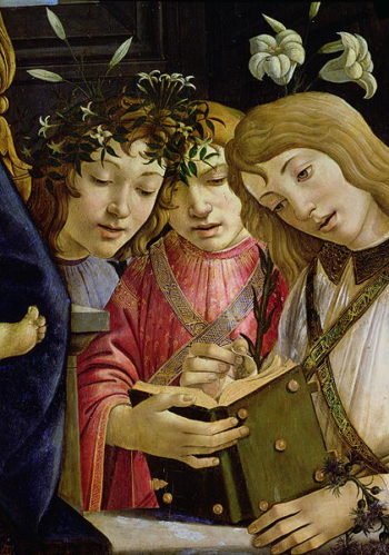 Madonna and child with the young St John the Baptist and angels detail showing three angels | Sandro Botticelli | oil painting