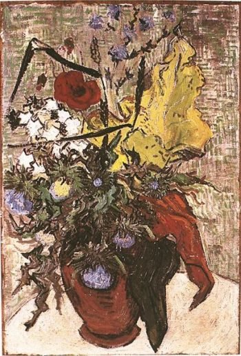 Wild Flowers and Thistles in a Vase | Vincent Van Gogh | oil painting