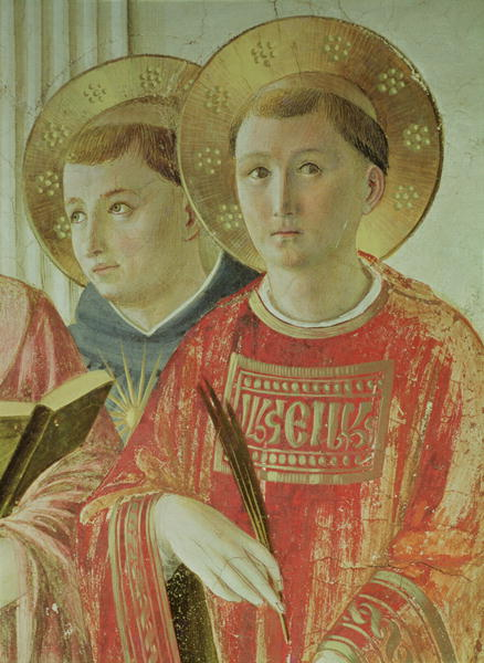 Madonna of the Shadow detail of St Thomas Aquinas and St Lawrence from the first floor corridor | Fra Angelico | oil painting
