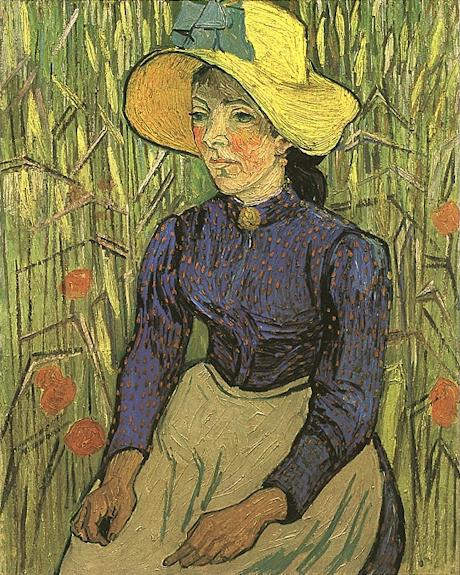 Young Peasant Woman with Straw Hat Sitting in the Wheat | Vincent Van Gogh | oil painting