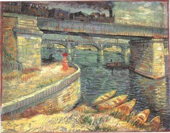 Bridges across the Seine at Asnieres | Vincent Van Gogh | oil painting
