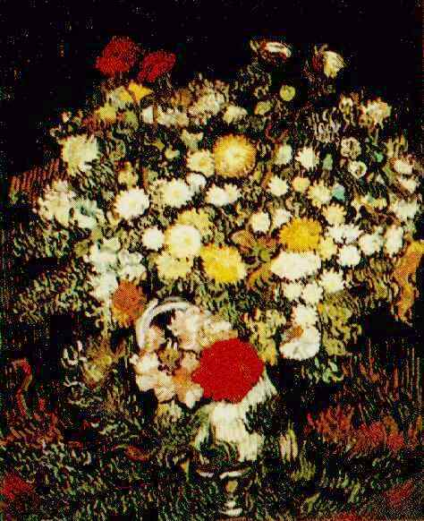Chrysanthemums and Wild Flowers in a Vase | Vincent Van Gogh | oil painting