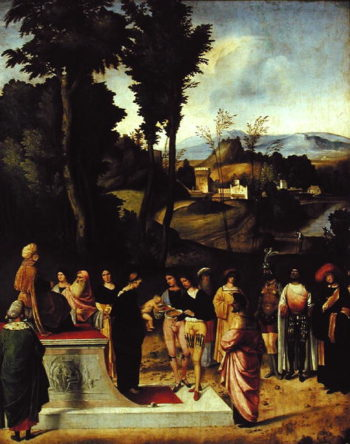 Moses being tested by the Pharaoh 1502 05 | Giorgione | oil painting