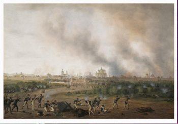 Battle of Smolensk on 18 August 1812 | Adam Albrecht | oil painting