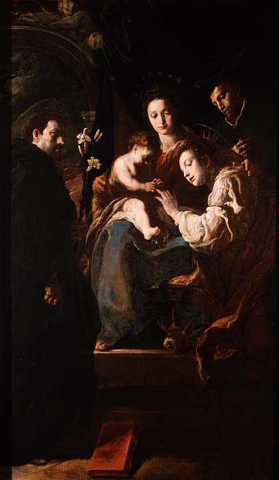 Mystical marriage of St Catherine and the Christ Child with Peter the Martyr 1617 21 | Domenico Fetti or Feti | oil painting