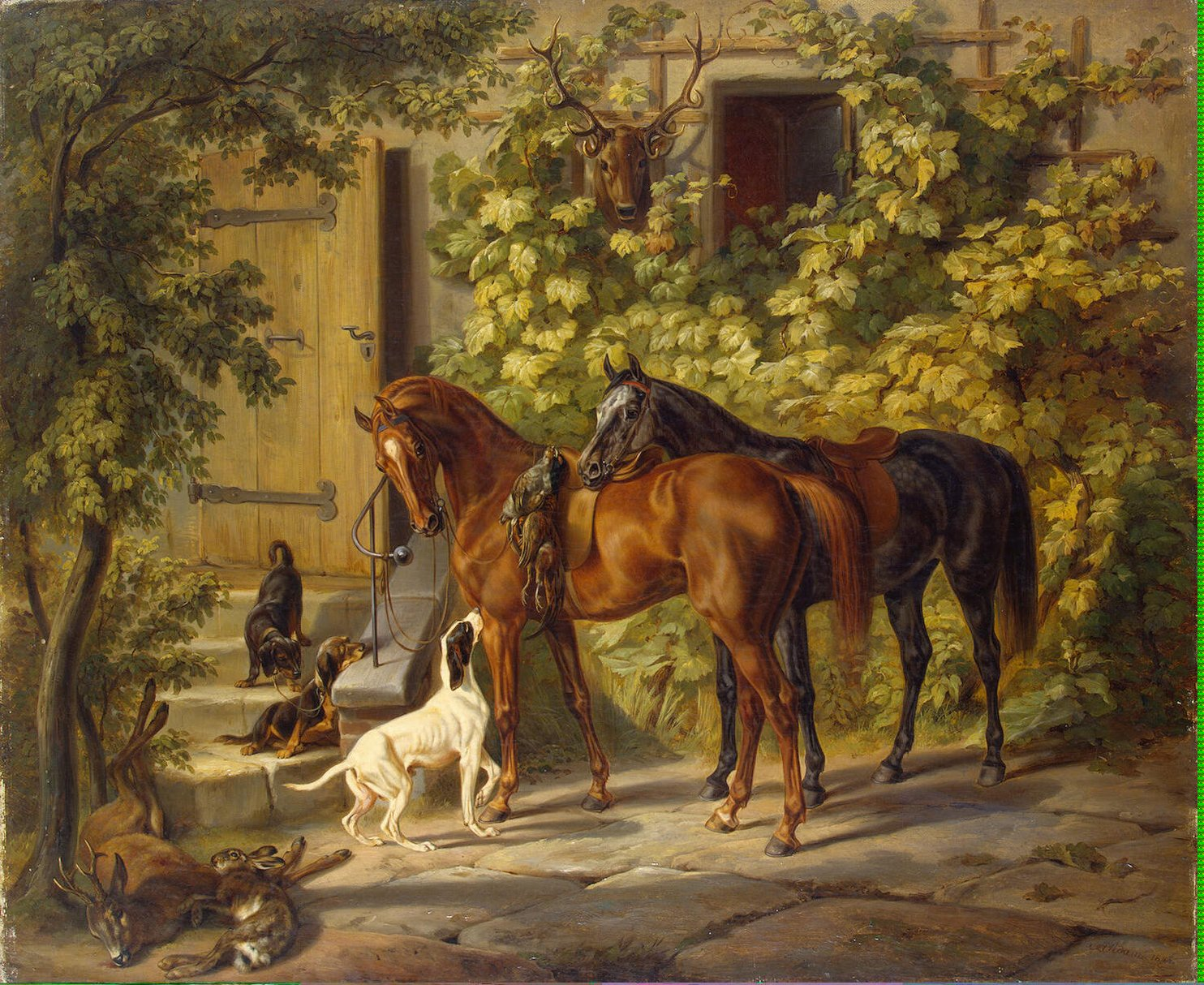 horses at the porch painting adam albrecht oil paintings