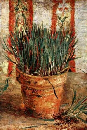 Flowerpot with Chives | Vincent Van Gogh | oil painting