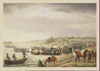 Italian Corp of Eugene Beauharnais Crossing the Niemen on 30 June 1812 | Adam Albrecht | oil painting