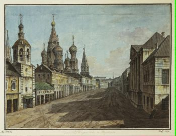 View of the Cathedral of St Basil the Blessed from Moskvoretskaya Street | Fiodor Alexeyev | oil painting