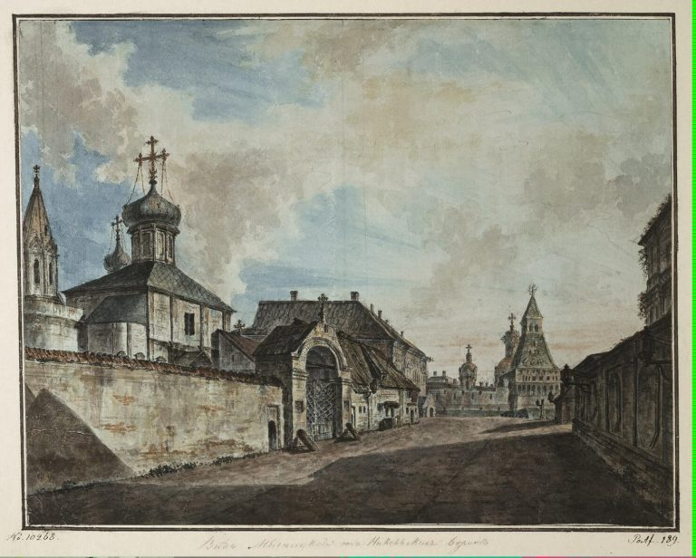 View of the Church of Our Lady of Greben and Vladimir (Nicholas) Gate in Kitai-Town | Fiodor Alexeyev | oil painting