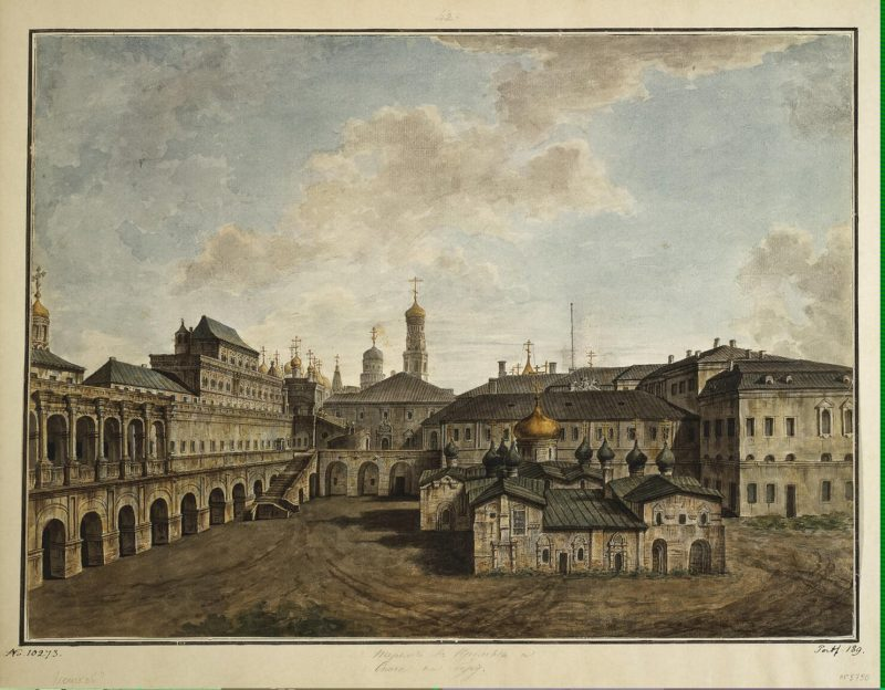 View of the Terem Palace and Cathedral of Our Saviour | Fiodor Alexeyev | oil painting