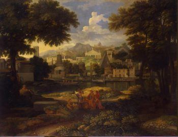 Landscape with Moses Saved from the Nile | Allegrain Etienne | oil painting