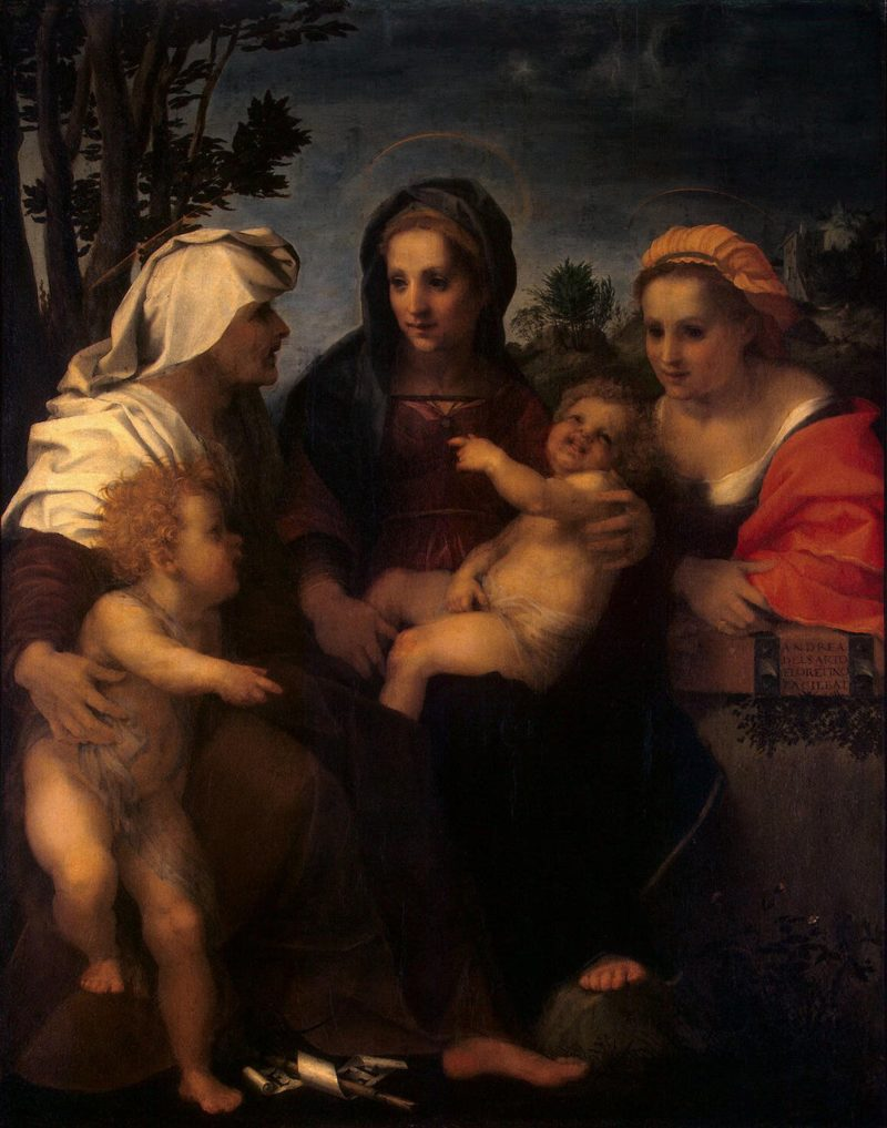 The Virgin and the Child with Saints Catherine Elizabeth and John the Baptist | Andrea del Sarto | oil painting