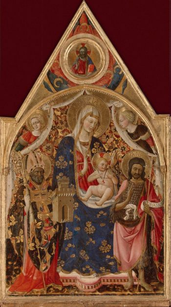 Madonna and the Child with a Bishop St John The Baptist and Angels. On the Reverse The Crucifixion with the Virgin Mary and St John | Antonio da Firenze | oil painting