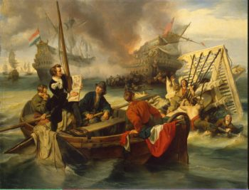Willem van de Velde Sketching a Sea Battle | Dehoij J. | oil painting
