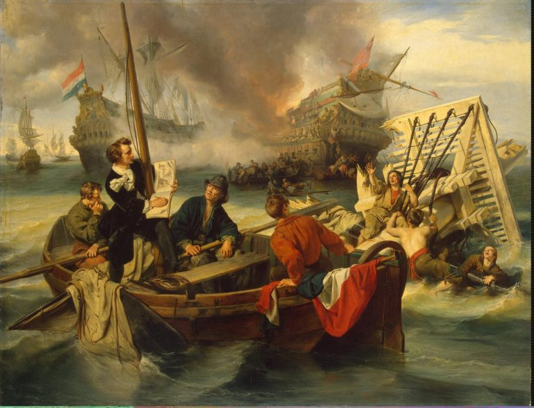 Willem van de Velde Sketching a Sea Battle | Dehoij J. | oil painting