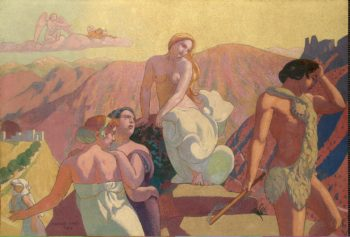 Panel 6. Psyches Kin Bid Her Farewell on a Mountain Top   Denis Maurice   oil painting