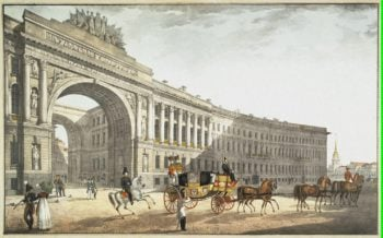 View of the Arch of the General Staff Building from Palace Square | Beggrov Karl Petrovich | oil painting