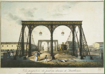 View of the Chain Panteleimonovsky Bridge across the Fontanka | Beggrov Karl Petrovich | oil painting