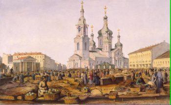 View of Sennaya (Hay) Square | Perrot Ferdinand-Victor | oil painting