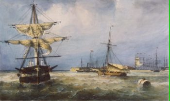 View of the Harbour at Kronshtadt | Perrot Ferdinand-Victor | oil painting