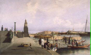 View of the Neva River at the Descent of the Academy of Arts | Perrot Ferdinand-Victor | oil painting