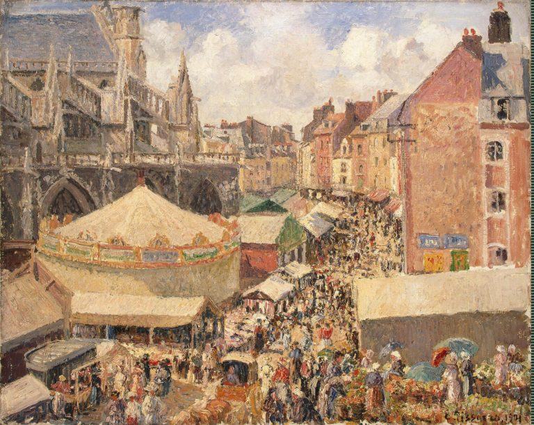 Fair in Dieppe Sunny Morning | Pissarro Camille | oil painting