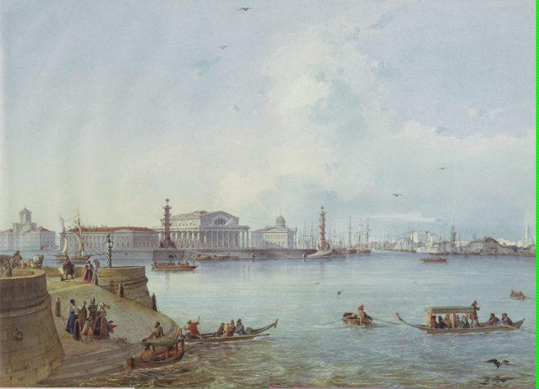 View of the Spit of Vasilyevsky Island | Bohnstedt Ludwig Franz Karl | oil painting