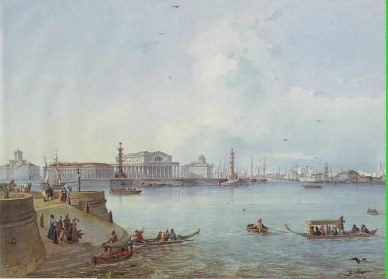 View of the Spit of Vasilyevsky Island   Bohnstedt Ludwig Franz Karl   oil painting