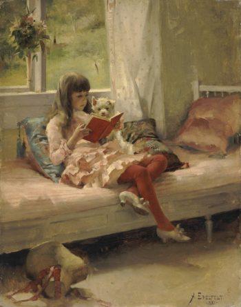 Good Friends (Portrait of the Artists Sister Bertha Edelfelt) | Edelfelt Albert (Gustaf Aristides) | oil painting