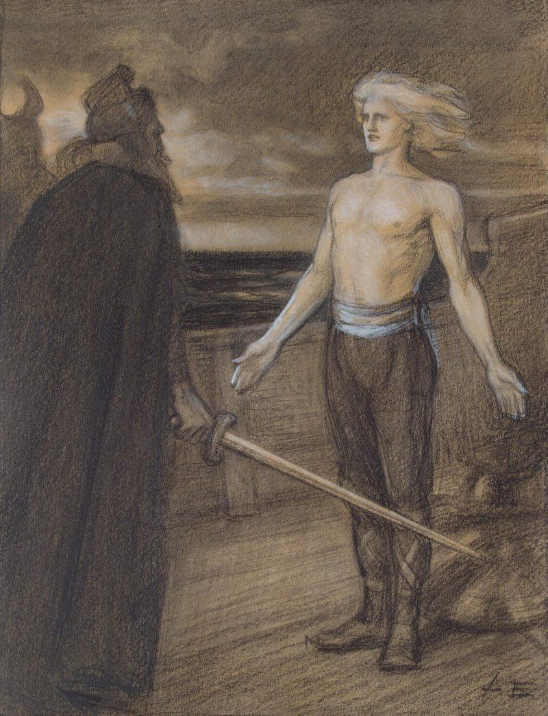 Illustration for the Poem Konig Fjalar by J.L.Runeberg | Edelfelt Albert (Gustaf Aristides) | oil painting