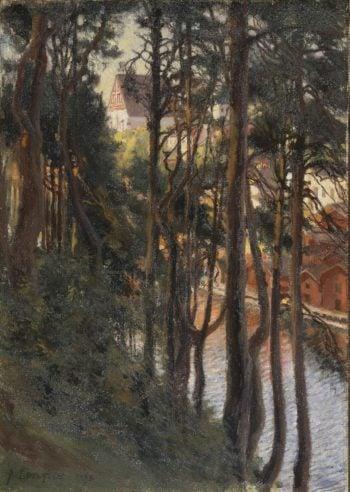 View of Porvoo from Nasinmaki   Edelfelt Albert (Gustaf Aristides)   oil painting