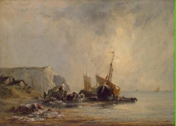 Boats near Shore of Normandy | Bonington Richard Parkes | oil painting