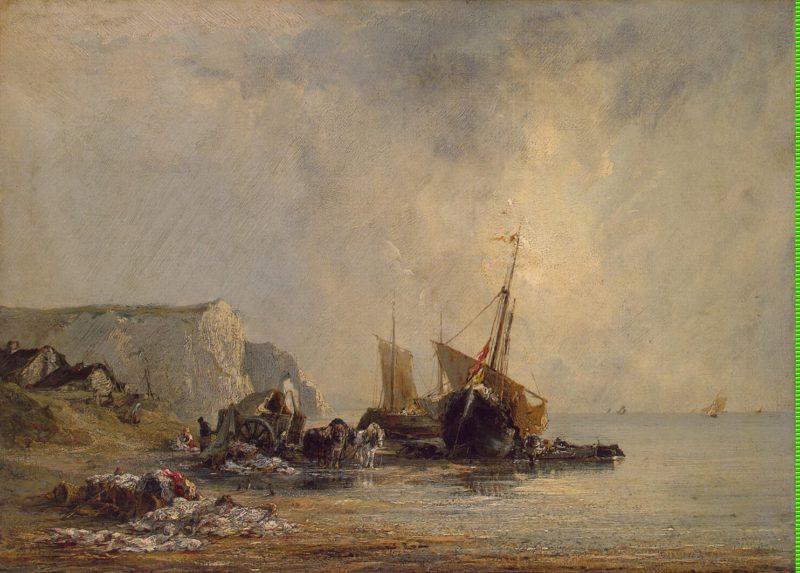 Boats near Shore of Normandy   Bonington Richard Parkes   oil painting