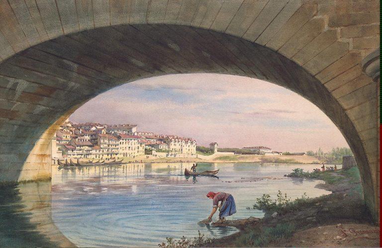 View of Turin with a Bridge | Premazzi Luigi | oil painting