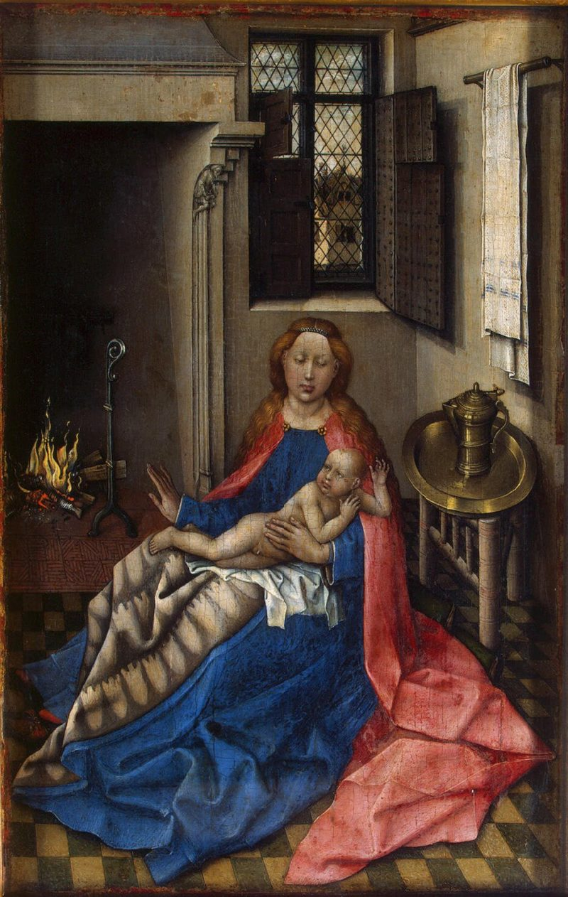 The Virgin and the Child by a Fireplace (Right Wing of a Diptych) | Campin Robert | oil painting
